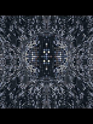 3D optical illusion blue black disco ball