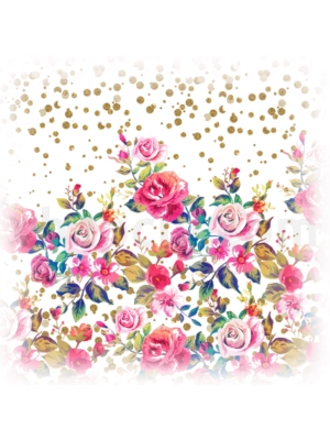 Modern watercolor spring floral and gold dots pattern