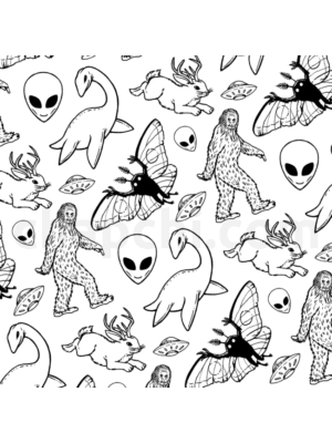 Cryptid Lineart Pattern (White)
